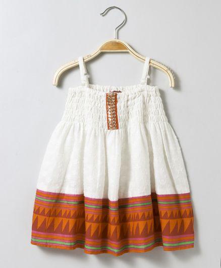 Twisha Dobby Strap Dress With Smocking & Border Print At Hem - White