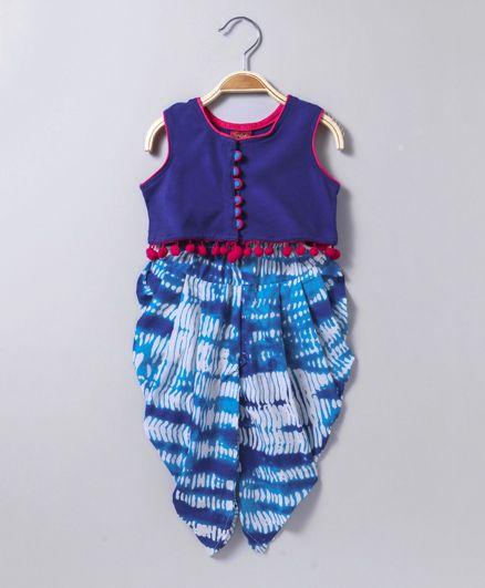 Twisha Knit Sleeveless Top With Pom Pom Trim & Shibori Dhoti - Blue