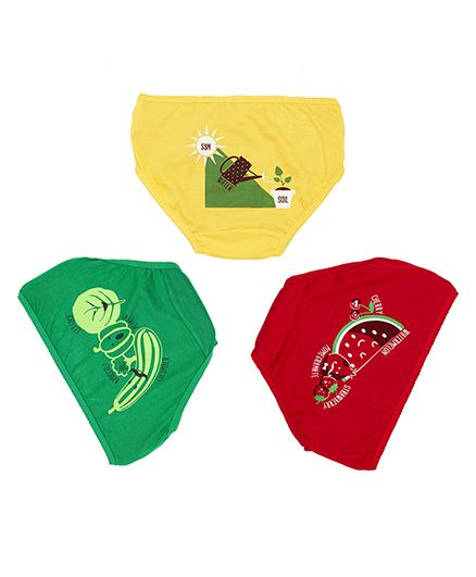 Plan B Set Of 3 Go Green Underwear For Girls - Red Green & Yellow