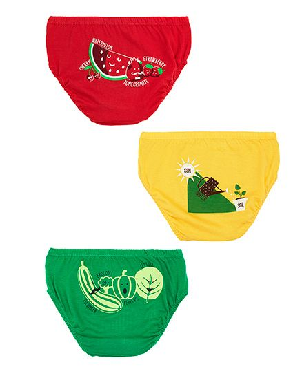 Plan B Set Of 3 Go Green Underwear For Boys - Red Green & Yellow
