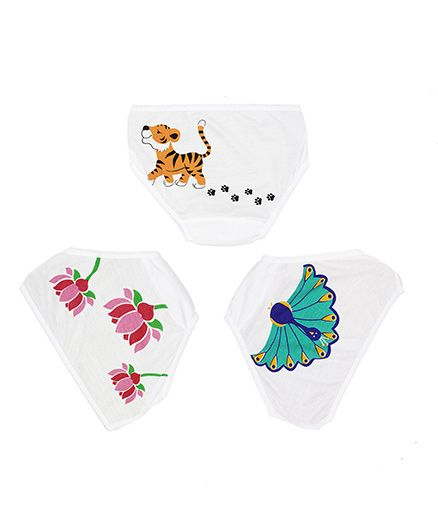 Plan B Set Of 3 India On My Mind Underwear For Girls - White