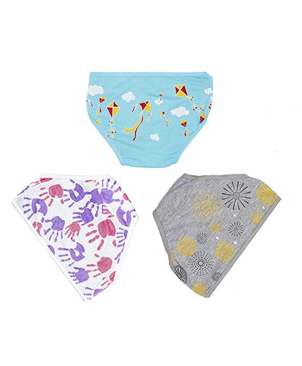Plan B Set Of 3 Fun & Festive Underwear For Girls - White Grey & Blue
