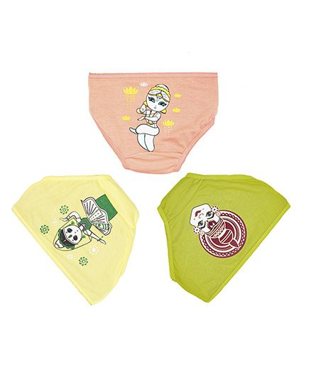 Plan B Set Of 3 The Dancing Girls Underwear - Green Yellow & Peach