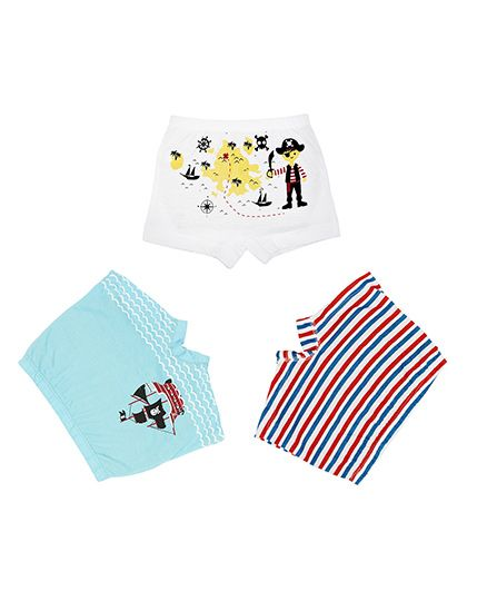 Plan B Set Of 3 Treasure Hunt Boxer Shorts For Boys - White Blue & Red