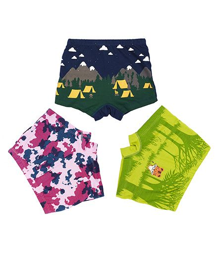 Plan B Set Of 3 Camouflage Boxer Shorts For Girls - Navy Lime & Pink