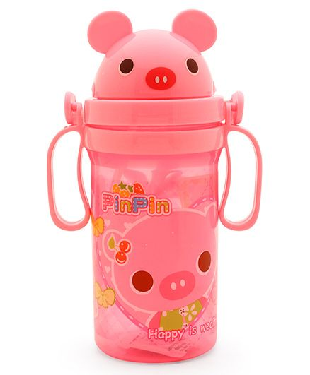 Pop Up Straw Sipper Water Bottle With Handle Pink - 560 ml