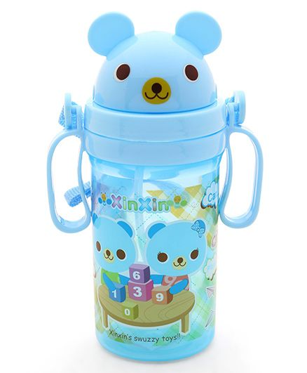 Pop Up Straw Sipper Water Bottle With Handle Blue - 560 ml