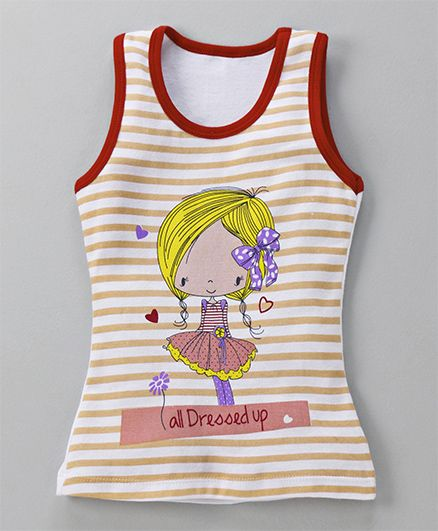 Bodycare Sleeveless Slip With Doll Print - Red