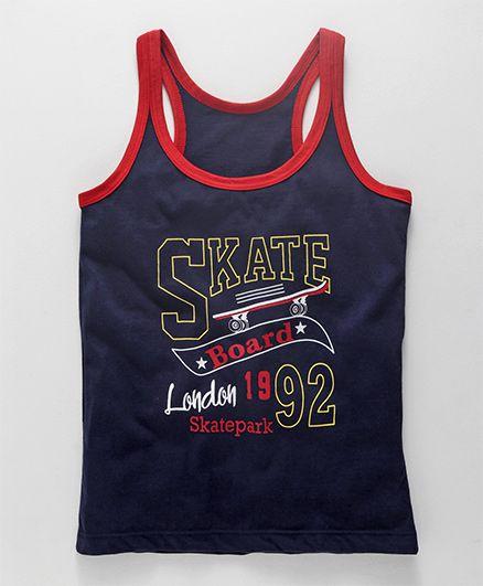 Bodycare Sleeveless Vest Skate Print - Navy