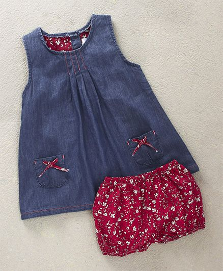 Gaga Bebe Denim Frock With Bloomer - Blue & Red