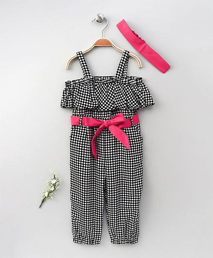 Lilpicks Couture Checks Print Off Shoulder Jumpsuit With Headband - Black