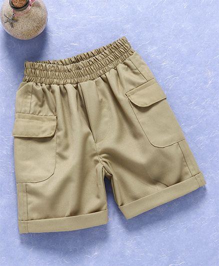 Knotty Kids Solid Elastic Waist Twill Shorts - Khaki