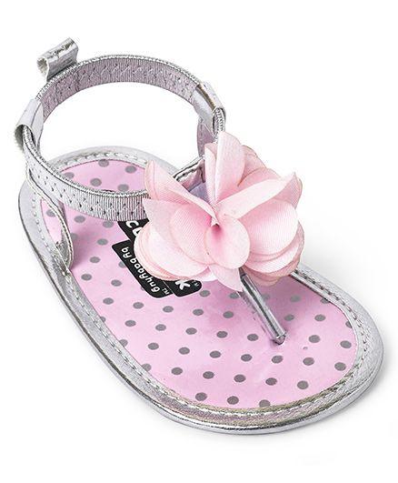 Cute Walk by Babyhug Slip On Booties Floral Applique - Pink