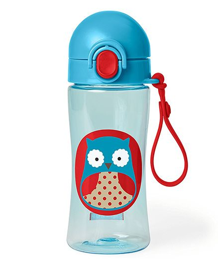 Skip Hop Zoo Lock Top Sipper Bottle Owl Print Blue - 414 ml