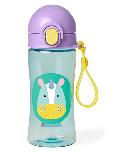 Skip Hop Zoo Lock Top Sipper Bottle Unicorn Print Purple - 414 ml