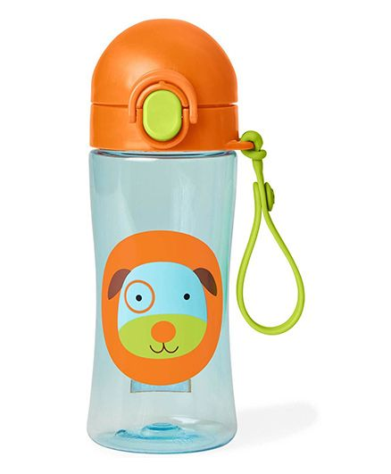 Skip Hop Zoo Lock Top Sipper Bottle Puppy Print Orange - 414 ml