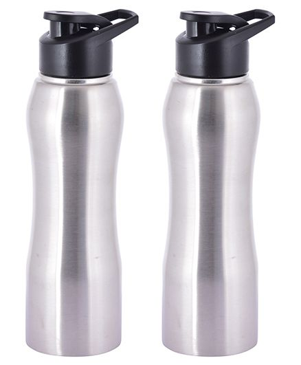 Pexpo Bistro Stainless Steel Sipper Water Bottle Silver & Black - 750 ml each
