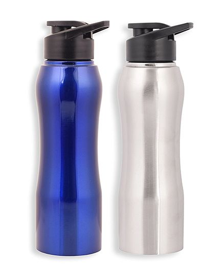 Pexpo Bistro Stainless Steel Sipper Water Bottle Silver & Blue - 750 ml each