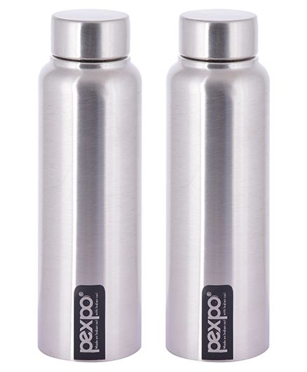 Pexpo Stainless Steel Water Bottle Silver Pack of 2 - 500 ml each