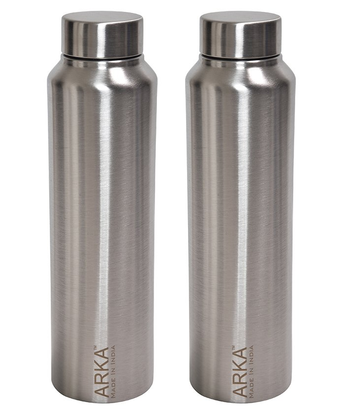 Pexpo Stainless Steel Water Bottle Silver Pack of 2 - 1000 ml each