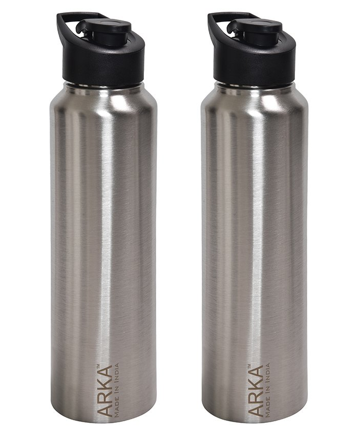 Pexpo Stainless Steel Sipper Water Bottle Silver Pack of 2 - 1000 ml each