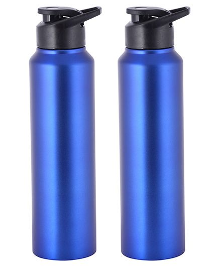 Pexpo Stainless Steel Sipper Water Bottle Blue Pack of 2 - 1000 ml each