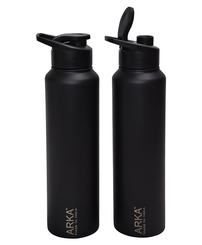 Pexpo Stainless Steel Sipper Water Bottle Black Pack of 2 - 1000 ml each