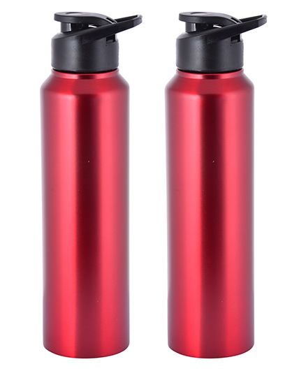 Pexpo Stainless Steel Sipper Water Bottle Red Pack of 2 - 1000 ml each