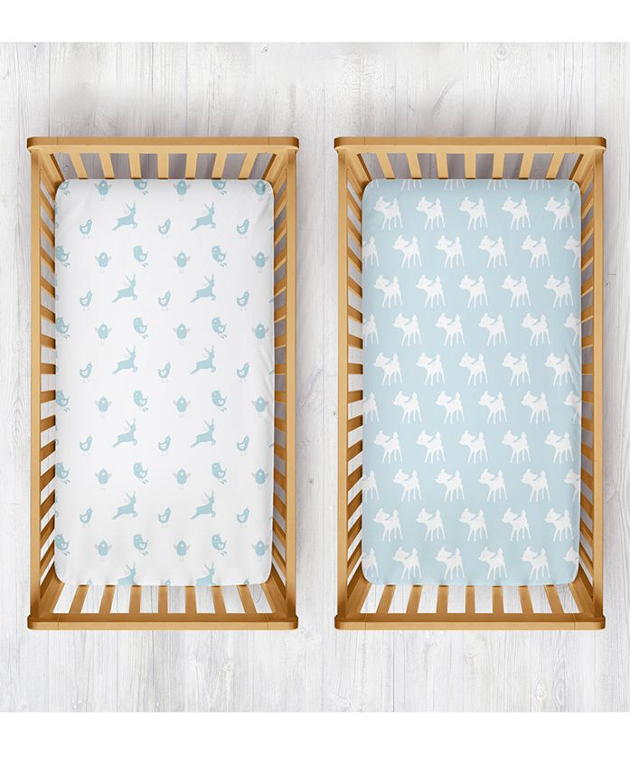 Rabitat Organic Cotton Cradle Sheet Birds & Deer Print Pack of 2 - White Blue