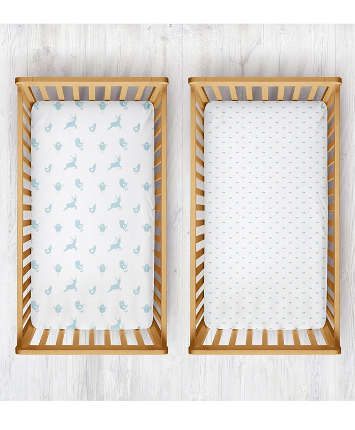 Rabitat Organic Cotton Cradle Sheet Whale & Bird Print Pack of 2 - White