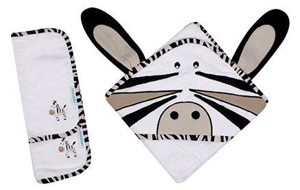 Abracadabra - Set Of Hooded Towel And Wash Cloths Zebra