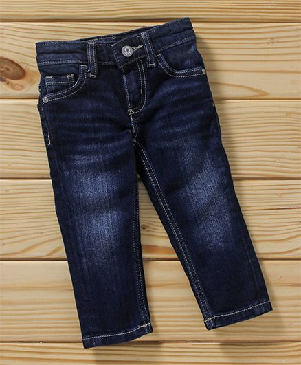 UCB Full Length Adjustable Elastic Waist Denim Jeans - Dark Blue