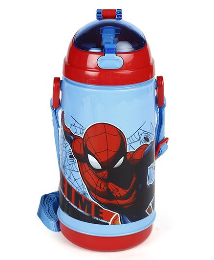 Marvel Sipper Water Bottle Spider Man Print Red Blue - 600 ml