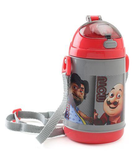 Motu Patlu Push Button Sipper Bottle Red Grey - 400 ml