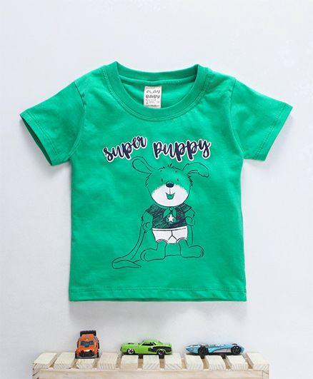 Little Kangaroos Short Sleeves T-Shirt Super Puppy Print - Green
