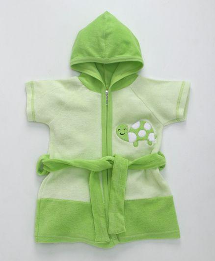 Pink Rabbit Half Sleeves Bath Robe With Hood Tortoise Design - Green