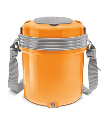 Milton Electron Electric Lunch Pack With 3 Stainless Steel Container Orange - 360 ml Each