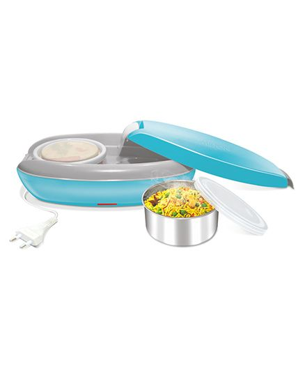 Milton Swiftron Electric Stainless Steel Lunch Pack With 2 Containers Blue - 260 ml each