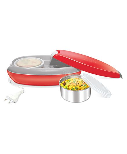 Milton Swiftron Electric Stainless Steel Lunch Pack With 2 Containers Red - 260 ml each