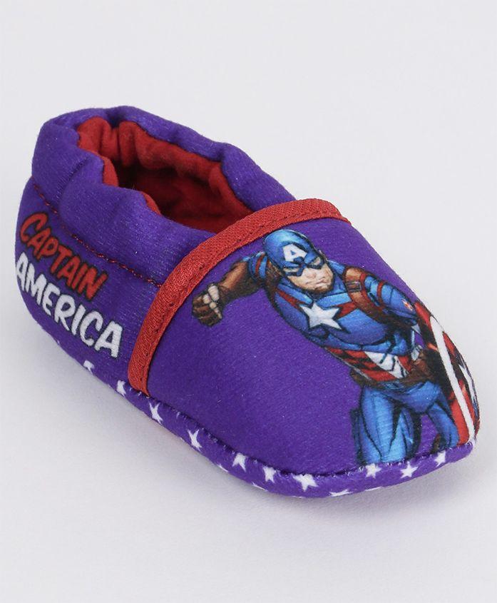 Marvel Slip On Style Booties Captain America Print - Purple Blue