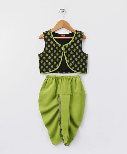 Twisha Floral Jacket & Dhoti Set - Green