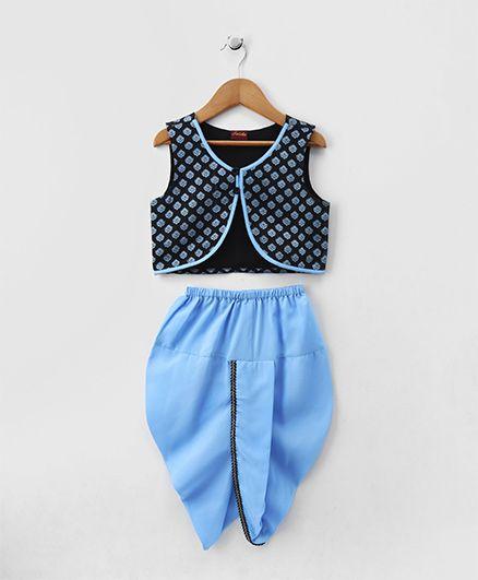 Twisha Floral Jacket & Dhoti Set - Blue
