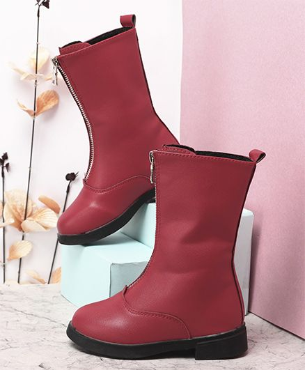 Kidlingss Zip-Up Style Long Boots - Red