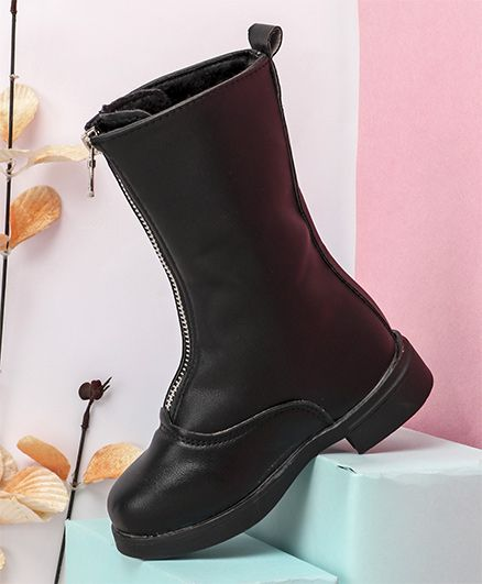 Kidlingss Zip-Up Style Long Boots - Black