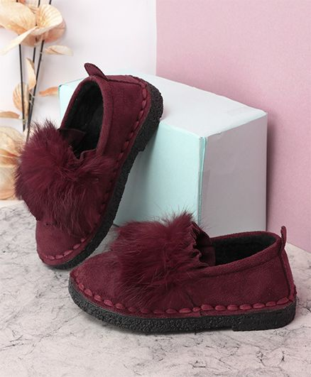 Kidlingss Fur Pom-Pom Suede Slip-On Shoes - Wine