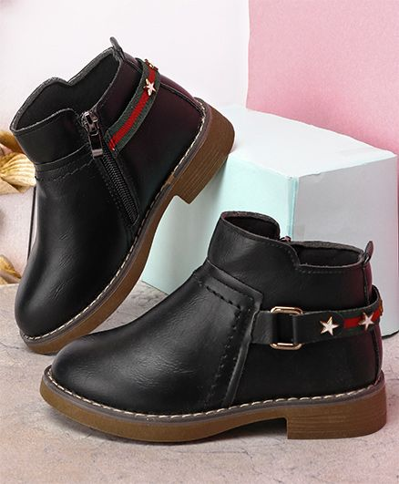 Kidlingss Zip-Up Boots With Buckle Strap - Black