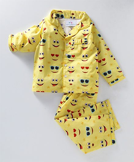 Knitting Doodles Emoji Print Night Suit - Yellow