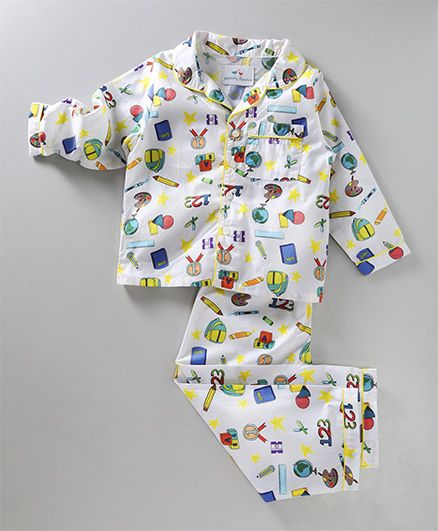 Knitting Doodles Back To School Print Night Suit - White