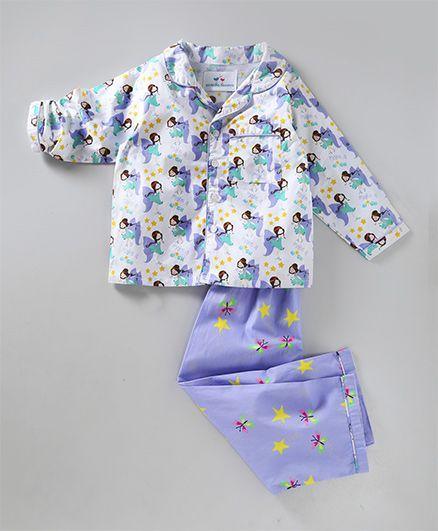 Knitting Doodles Fairies Print Night Suit - Purple