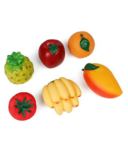 Ratnas Squeaky Bath Toys Fruits Multicolour - Pack of 6